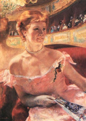 Lydia in a Loge Wearing a Pearl Necklace - Mary Cassatt