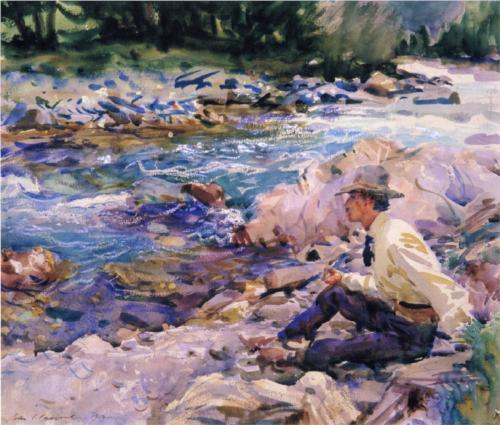 Man Seated by a Stream - John Singer Sargent