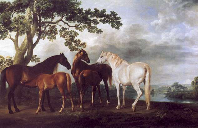 Mares and Foals in a Landscape - George Stubbs