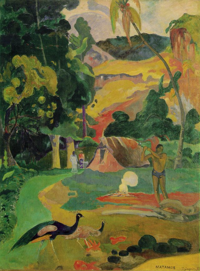 Matamoe Landscape with Peacocks - Paul Gauguin
