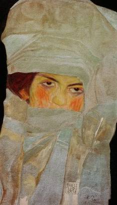 Melanie with Silver-Colored Scarves - Egon Schiele