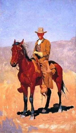 Mounted Cowboy in Chaps - Frederic Remington