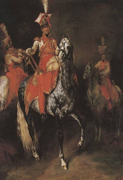 Mounted Trumpeters of Napoleons Imperial Guard - Theodore Gericault