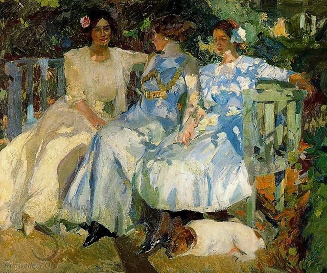 My Wife and Daughters in the Garden - Joaquin Sorolla