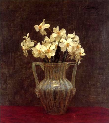 Narcisses in an Opaline Glass Vase - Henri Fantin-Latour