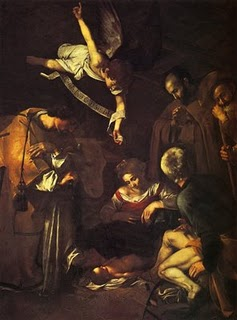 Nativity with Saints Francis and Lawrence - Michelangelo Merisi da Caravaggio