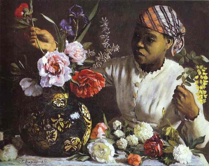 Negress with Peonies - Frederic Bazille