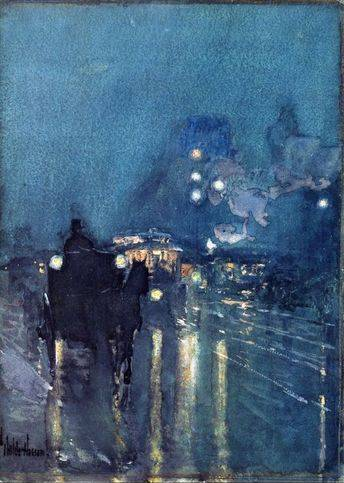 Nocturne, Railway Crossing, Chicago - Childe Hassam