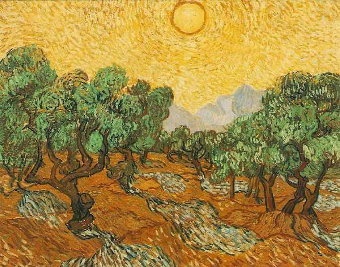 Olive Trees and Yellow Sky - Vincent van Gogh