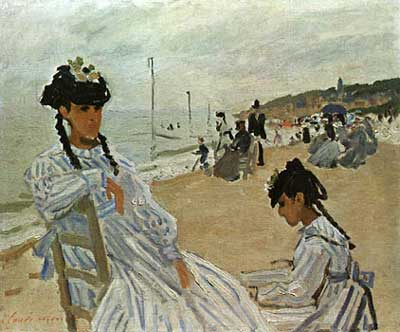 On the Beach at Trouville - Claude Monet