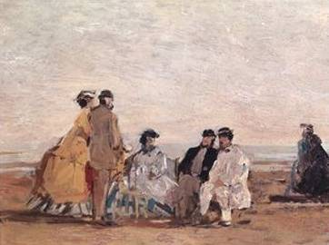 On the Beach at Trouville - Eugene Boudin