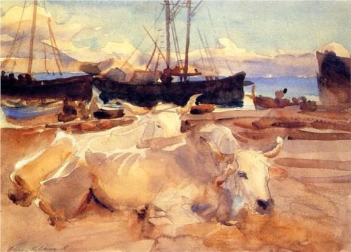 Oxen on the Beach at Baia - John Singer Sargent