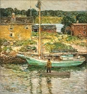 Oyster Sloop, Cos Cob - Childe Hassam