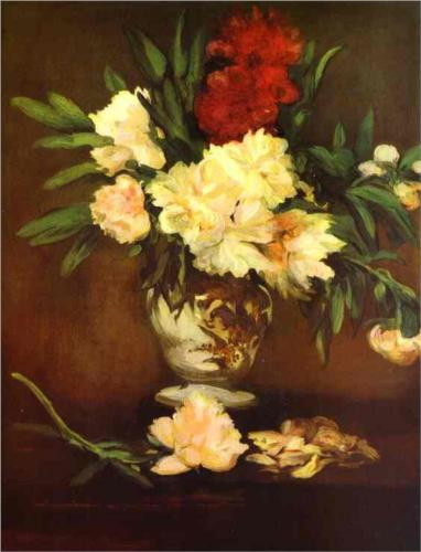 Peonies in a Vase - Edouard Manet