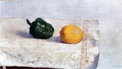 Pepper and Lemon on a White Tablecloth - Odilon Redon