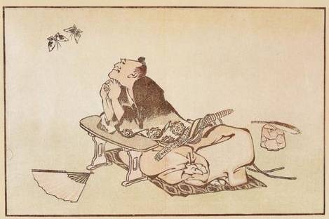 Philosopher Watching a Pair of Butterflies - Katsushika Hokusai