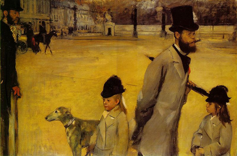 Ludovic Lepic and his Daughter (Place de la Concorde) - Edgar Degas