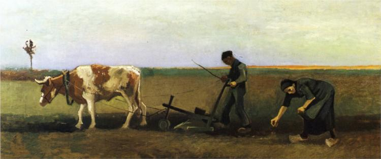 Ploughman with Woman Planting Potatoes - Vincent Van Gogh