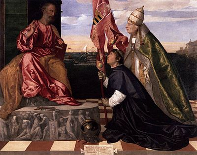 Pope Alexander IV presenting Jacopo Pesaro to St Peter - Tiziano Titian Vecellio