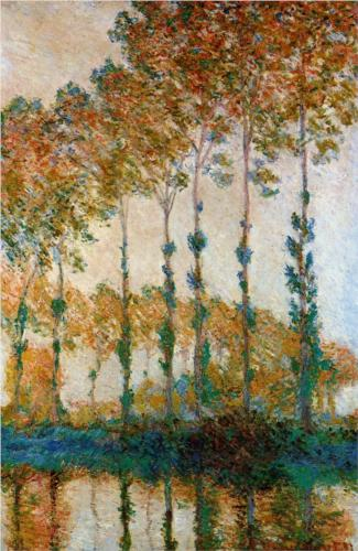 Poplars on the Banks of the Epte, Autumn - Claude Monet