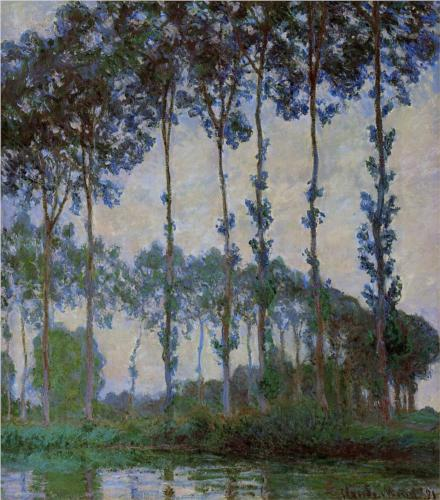 Poplars on the Banks of the River Epte, Overcast Weather - Claude Monet