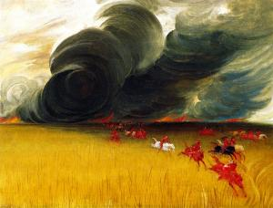 Prairie Meadows Burning - George Catlin