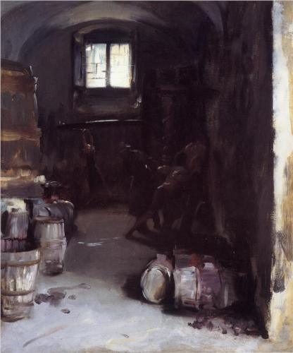 Pressing the Grapes (Florentine Wine Cellar) - John Singer Sargent
