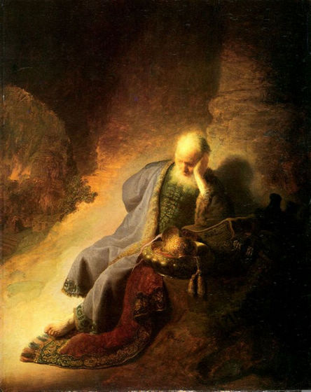 Prophet Jeremiah Lamenting over the Destruction of Jerusalem - Rembrandt van Rijn