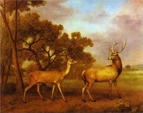 Red Deer Stag and Hind - George Stubbs