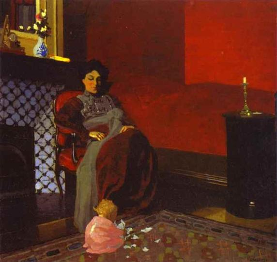 Red Room with Woman and Child - Felix Vallotton
