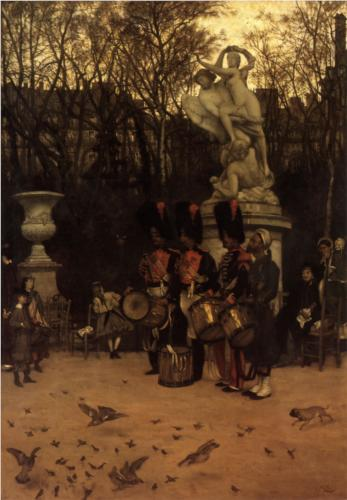 Retreat in the Tuileries Gardens - James Tissot
