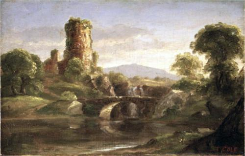 Ruined Castle and River - Thomas Cole