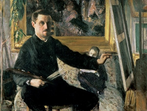 Self Portrait with Easel - Gustave Caillebotte