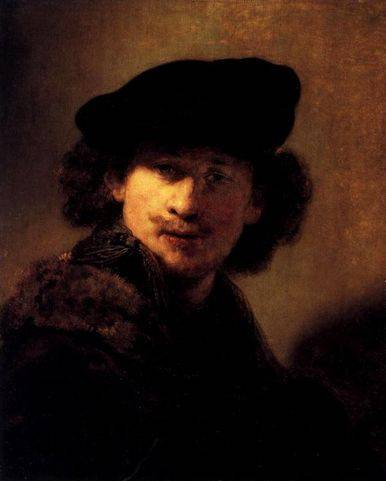 Self Portrait with Velvet Beret and Furred Mantel - Rembrandt van Rijn