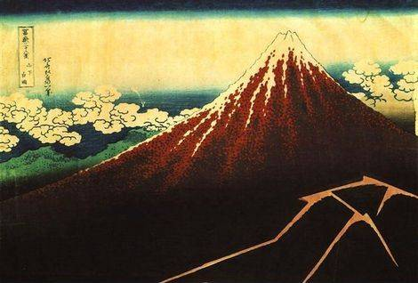 Shower Below the Summit - Katsushika Hokusai