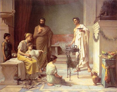 Sick Child brought into the Temple of Aesculapius - John William Waterhouse