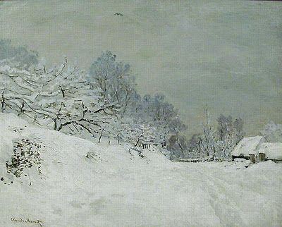 Snow Near Honfleur - Claude Monet
