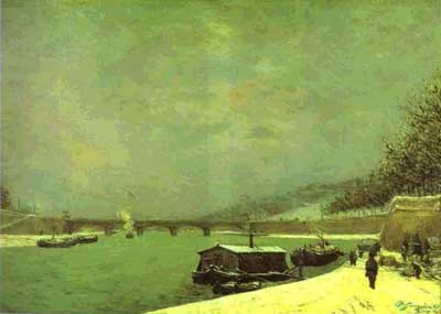 Snowy Weather on the Seine at Pont d'Iéna - Paul Gauguin