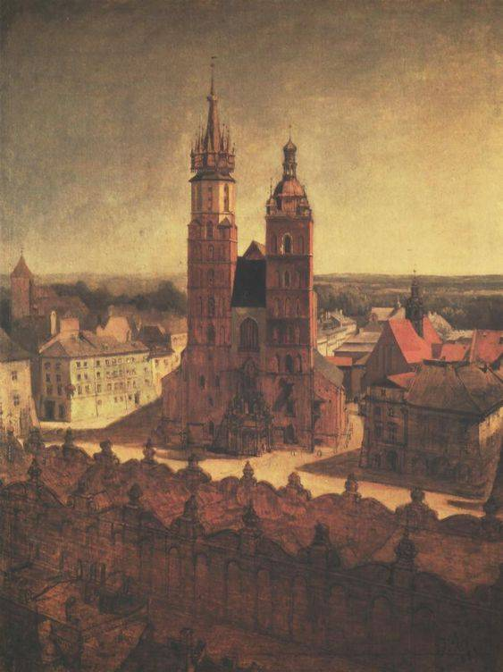 St. Mary's Church from the Town Hall Tower in Cracow - Jan Matejko