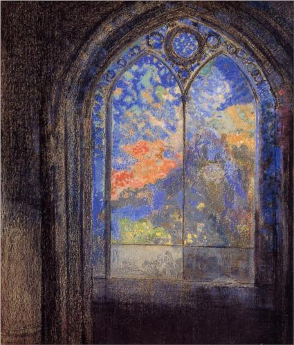 Stained Glass Window (The Mysterious Garden) - Odilon Redon