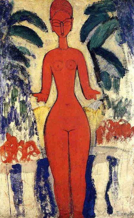 Standing Nude with Garden Background - Amedeo Modigliani