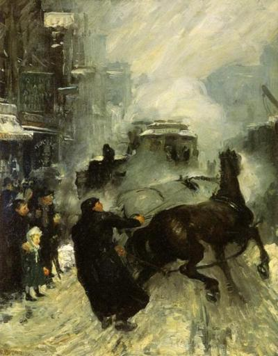 Steaming Streets (New York 1908) - George Bellows