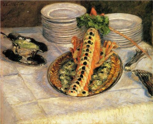 Still Life With Crayfish - Gustave Caillebotte