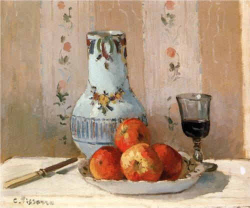 Still Life with Apples and Pitcher - Camille Pissarro