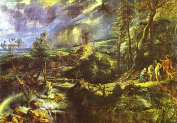 Stormy Landscape with Philemon and Baucis - Peter Paul Rubens