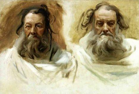 Study for Two Heads for Boston Mural The Prophets - John Singer Sargent