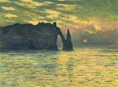 Sunset at the Cliff in Etretat - Claude Monet