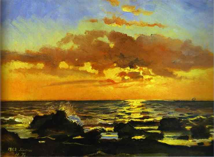 Sunset on the Sea at Livorno - Nikolay Gay