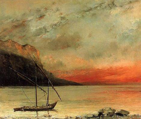 Sunset over Lake Leman - Gustave Courbet