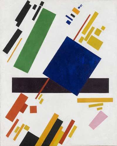 Suprematist Composition 1916 (Blue Rectangle over Purple Beam) - Kazimir Malevich